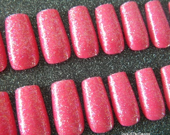Pink Glitter Coffin Nails.