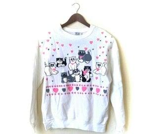 Vintage 1980s cute kitty cat love sweatshirt