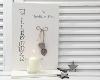 Personalized sign with candle for candle Tealight - Welcome