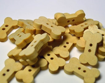Wooden bone shaped buttons - WB007