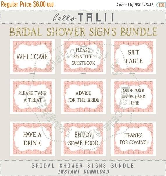 50 off vintage bridal shower signs 9 pink damask bridal for Wedding shower signs