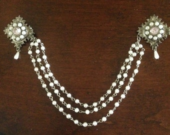 1960s Double Sweater Pin with Triple Pearl Chains, Silvertone and Pale Pink Stones.  Great gift for birthdays or special celebration