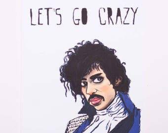 Prince Let's Go Crazy Greeting Card