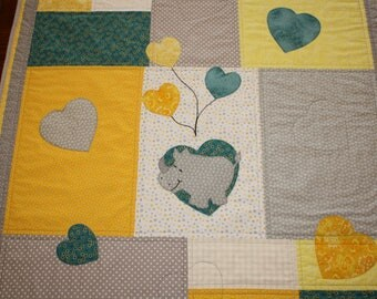 Rhino and Hearts Baby Quilt for Your Newest Arrival