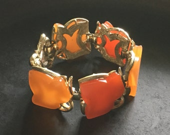Coro chunky red orange thermoset link bracelet. Vintage statement!