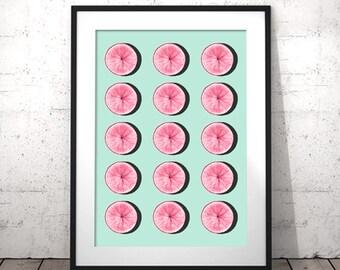 Unique Kitchen Art Citrus Kitchen Decor Printable Fruit Art Citrus Prints Pink