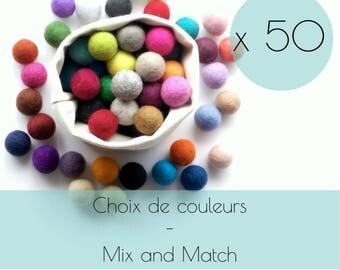 50 Felt balls/2.5 cm felt ball/wool pompom/DIY/bead jewelry/bulk/choice of color/multicolor/felting/wholesale/creative project/Québec/Canada
