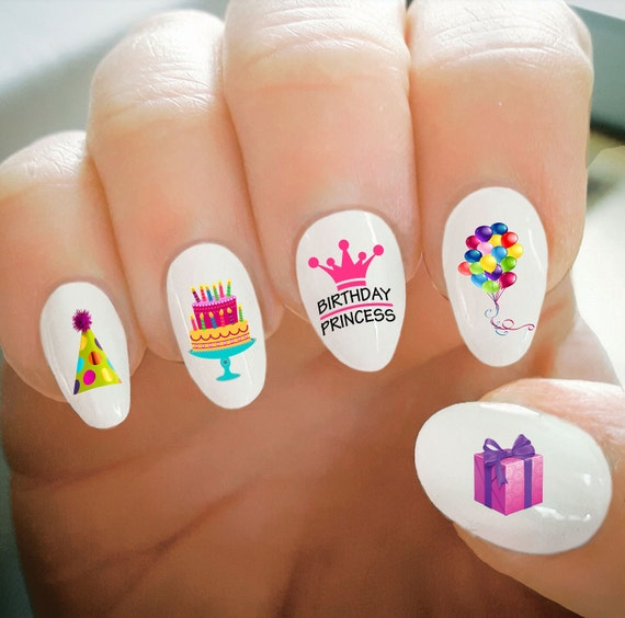 Birthday Cake Nails: Nail Decals Happy Birthday Nail Decals Balloons Cake Party