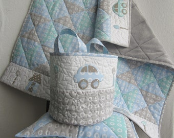 Set: Patchwork baby blanket + pillow + toy bag