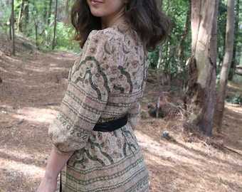 Vintage Neutral Paisley Dress