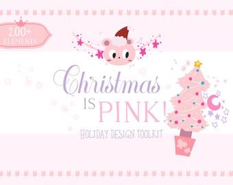 Digital Download Holiday Design toolkit, Christmas Clip Art Bundle, Hand Lettering Kit, Pastel Holiday graphics, KAWAII doodle illustration