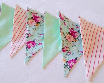 Bunting banner girl 12 flags banner Bunting garland Baby girl nursery Fabric pennant flags Decor baby shower