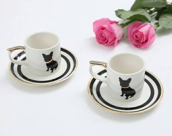 French bulldog espresso cup and saucer - handpainted - cup&saucer sets of 2- chanel style