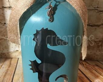 Seahorse Painted Mason Jar Tea Light Candle Holder, Seahorse, painted mason jar, tea light candle holder, lantern, ocean, gift, sea creature