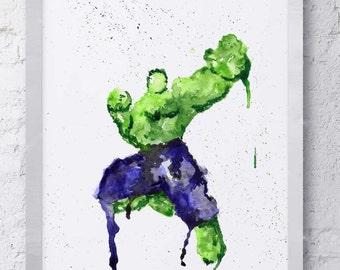 Hulk Marvel Avengers Watercolor Print