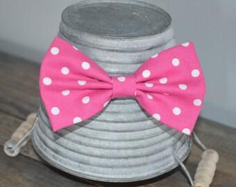 Dark Pink and White Polka Dot Hair Bow