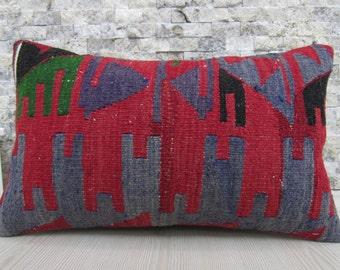 Vegetabke Dyed Turkey Kilim Pillow 12 x 20 Kilim Cushion Bohemian Pillow Boho Decor Lumbar Pillow Kilim Rug Aztec Pillow Floor Cushion