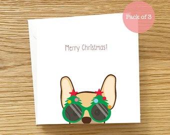 Dog Christmas Card Pack of 3 Cards - Frenchie Christmas Card, French Bulldog Christmas card, Christmas Card Pack, Cute Frenchie Card