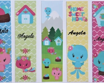 Personalized Sweetheart Birds Book Marks