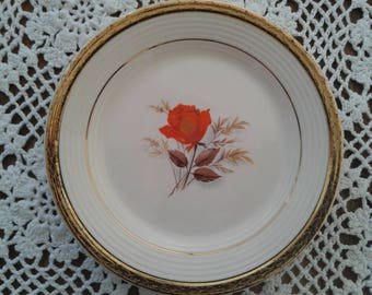 One Rose Dessert Plate (6pc), 1950s, golden rim