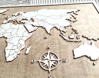 3D Wooden world map - Wooden map - World map - Wooden wall art - 3D wood art - Map-gift for traveler - Wanderlust gift