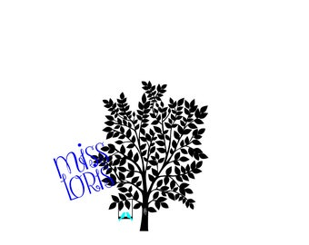 love birds and tree 2   SVG Cut file  Cricut explore file Love Wedding fabric decal    200 leaves Guest book wedding