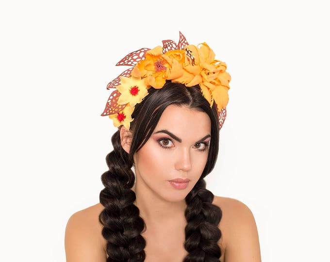 Orange Burgundy Costume Hat Fascinator Headdress Fantasy Headpiece Flower Crown wedding bohemian Large flowers outfit Festival fall in love