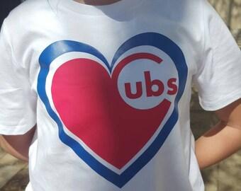 Chicago Cubs Heart Baseball Shirt or Tank, Cubs shirt, cubs tank, Chicago shirt