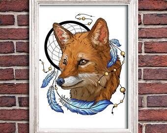 Digital Download Fox  Animals Art Dreamcatcher Wallpapper T-shirt Wall Art instant Download Digital Printable