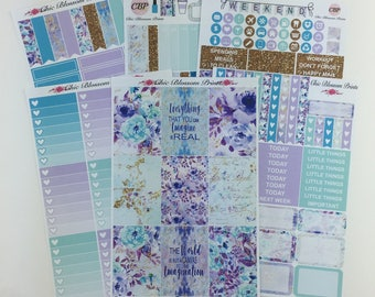 Lavender Teal Floral Collection, Weekly Kit, Happy Planner, Plum Planner, Planner Stickers, Plan with Me, ChicBlossomPrints