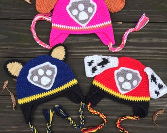 SALE!READY to Ship!Paw Patrol Hats,baby hat toddler hat,children hat,crochet hat,Marshall Hat,Chase Hat, Skye Hat,ready to ship