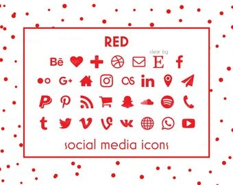 Social Media Icons, Red Icons, Red Buttons, Social icons, Blog Icons, Resume Icons, Business Card Icons, Social Media Buttons, Website Icons