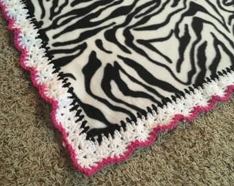 Zebra fleece baby blanket, crochet lined blanket, baby shower gift, baby lovey, nursery blanket, baby girl blanket, hot pink