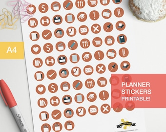 Student planner icon stickers - 3/4 inches icons - class and exams stickers