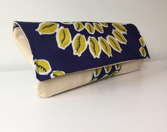 Leather Zipper Clutch, Upcycled Clutch Purse, Lemon Bag, Bridesmaid Clutch, Handmade clutch purse