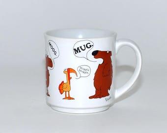 Vintage Sandra Boynton Animals Coffee Tea Mug, Boynton Critters Announcing Mug Muggle Moog