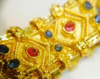 Byzantine 18 carat gold,sapphire,emerald ,rubin,Queen Theodora ring