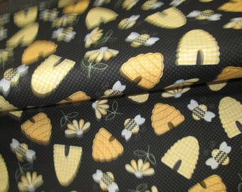 Cotton fabrics 100% with bee and hive, cotton fabric pattern black background with bee and hive