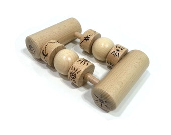 Rattle serious wooden rattle Montessori, baby wooden toy