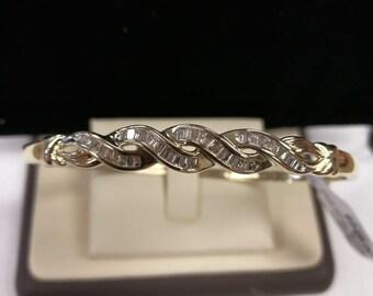 10K Baguette Diamond Bangle Bracelet