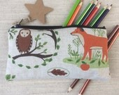 Lovely Handmade Purse Makeup or Pencil Case  in Forest Animal fabric