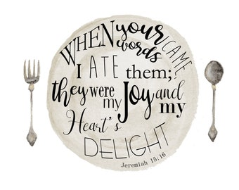 Scripture Art Jeremiah 15:16 Bible Verse Art Printable Download Watercolor Kitchen Joy Delight