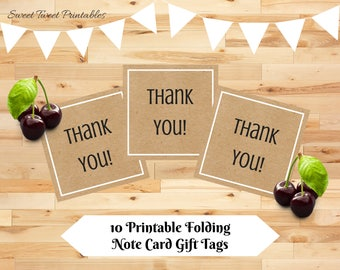 Printable mini thank you cards, kraft small thank you card, birthday party shower wedding teacher thank you notes