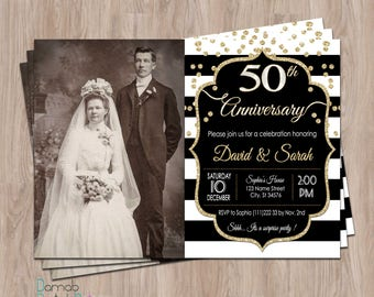 50th Anniversary Invitations, 50th anniversary invites, Photo , Fiftieth Anniversary,  50 Anniversary Party Invites, 20th, 30th, 40th, 60th