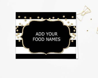 Food labels, Food Signs, Place Cards, Tented Cards, Black Food label cards, black and gold food labels PDF Instant Download Editable #B12