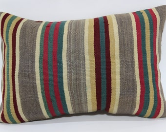 Decorative Striped Kilim Pillow Home Decor Ethnic Pillow 16x24 Bohemian Kilim Pillow Sofa Pillow Cushion Cover  SP4060-359