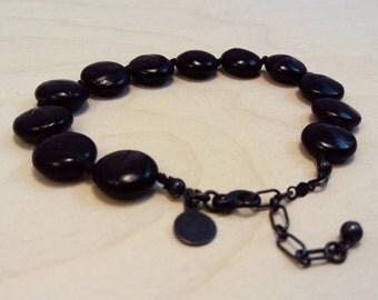 Valerie bracelet - Velvet labradorite with blackened sterling silver