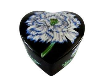Tiffany & Co. Heart Shape Porcelain Box Mrs Delany's Flowers Sybil Connolly