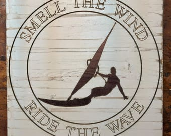 Wind Surfing Wood Sign