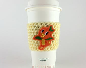 Orange Bird Coffee Cup Cozy / Crochet Coffee Sleeve / Reusable Cozie / Customizable